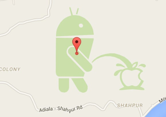 Yes, that's the Android mascot peeing on Apple in Google
