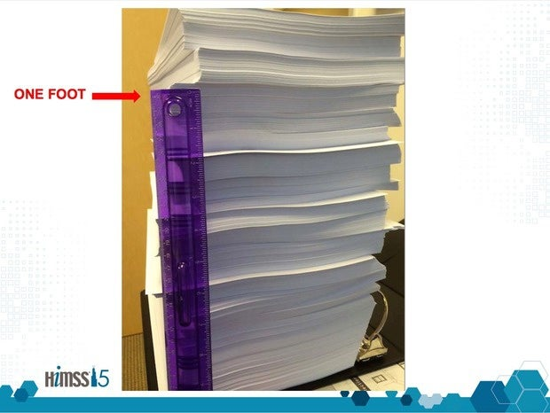 A printed EMR that's more than a foot high.