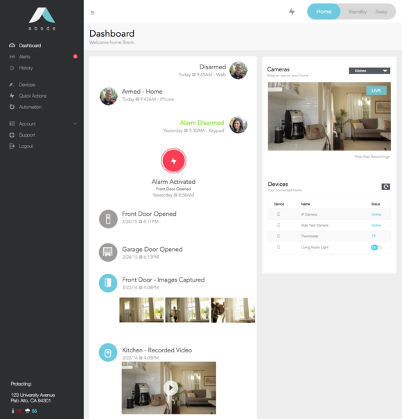 Abode web dashboard