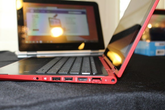 hp pavilion x360 sunset red right side ports