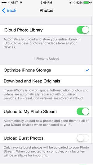 ios icloud photos settings