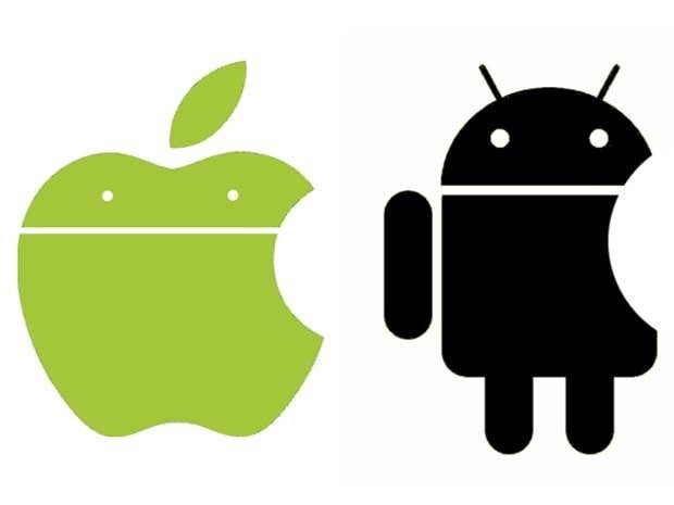 A mashup of the iOS and Android logos