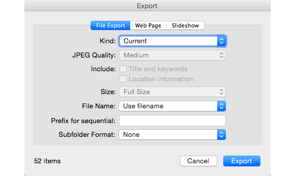 iphoto export dialog