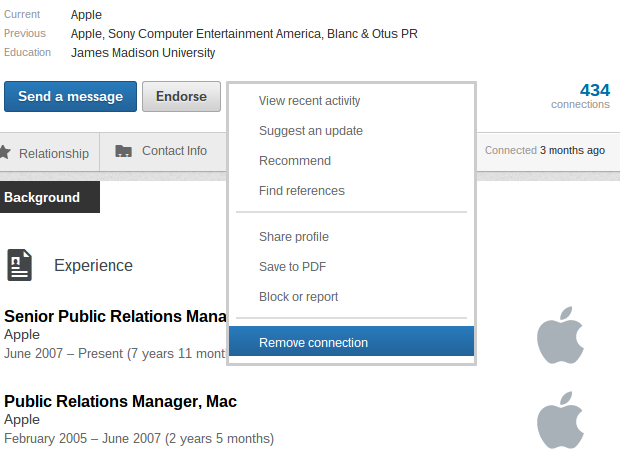 how to remove linkedin connections