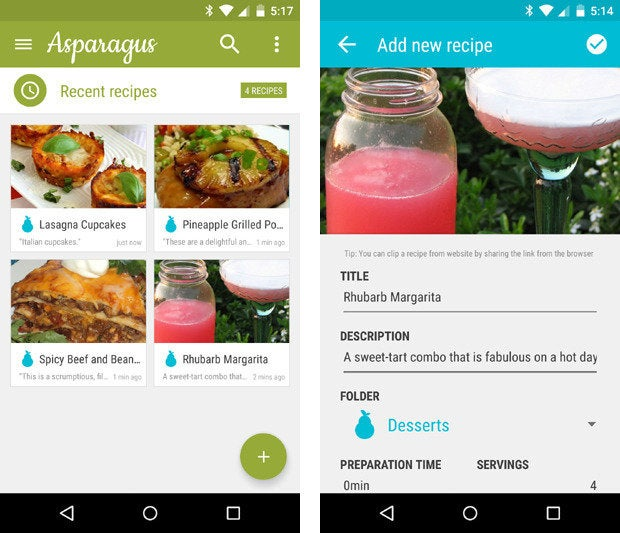 material design apps android asparagus