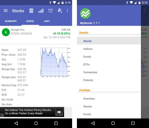 material design apps android mystocks