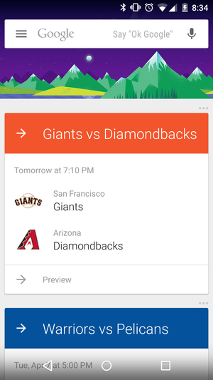 mlb google now