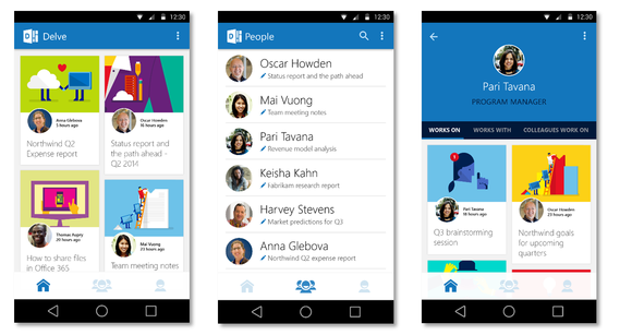 new office delve people experiences in office 365 apps