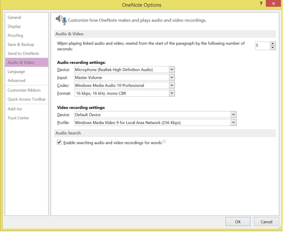 onenote audio video settings