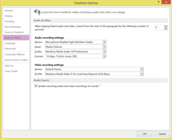 onenote audio video settings