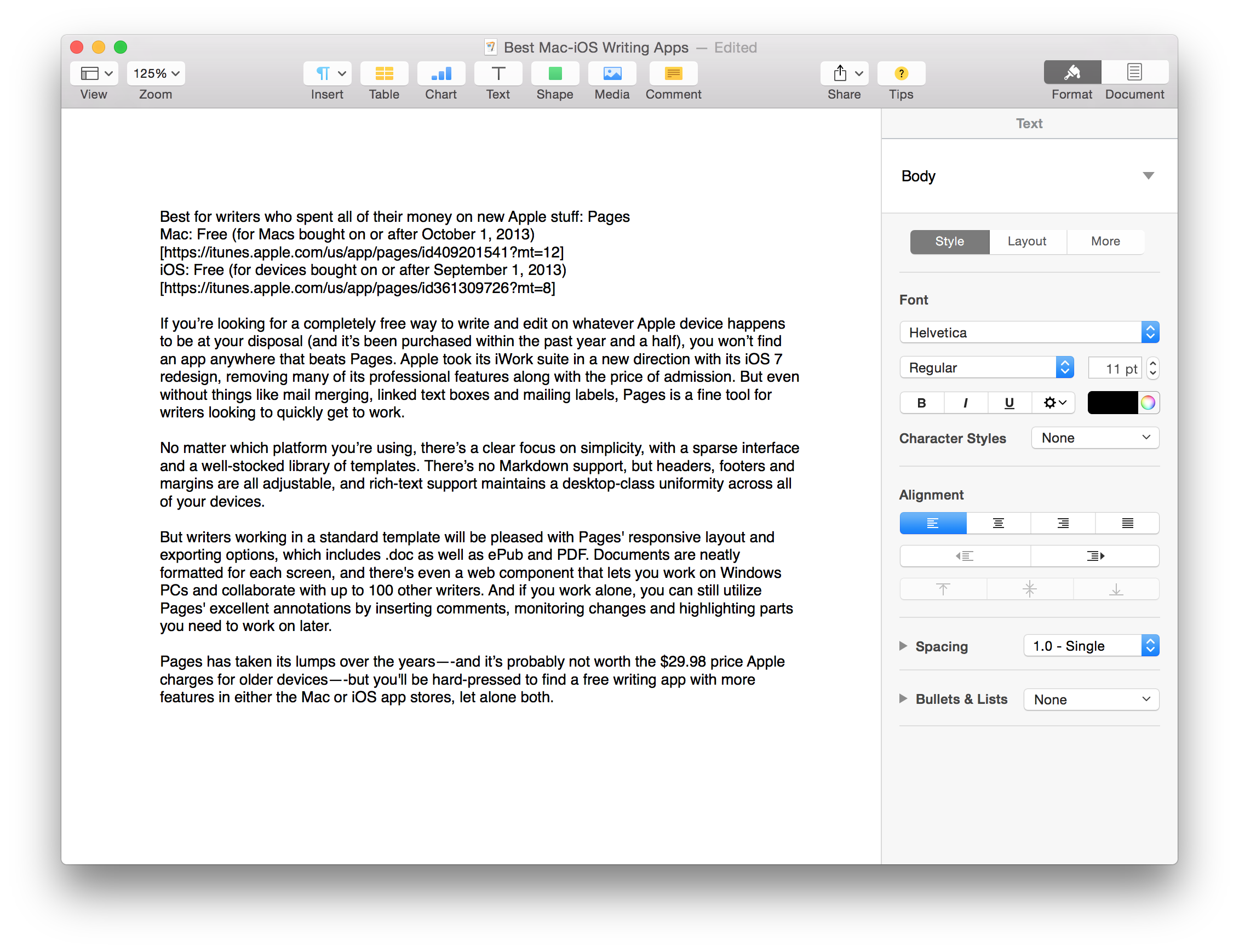 best word processing software for mac 2013