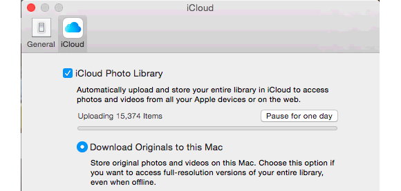 photos icloud sync options