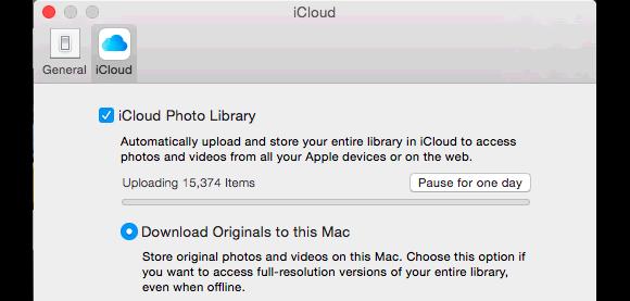 photos icloud sync options