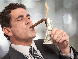 rich banker cigar money fire greed