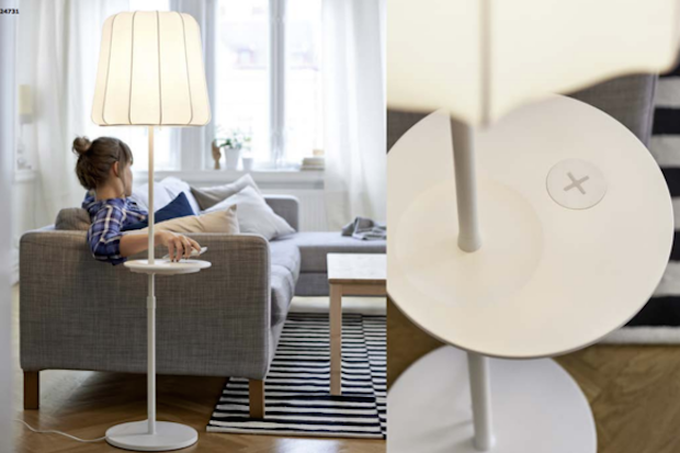 Ikea Hocker Karlstad Isunda Grau ~ floor lamp that is part of IKEA's wireless charging furniture line
