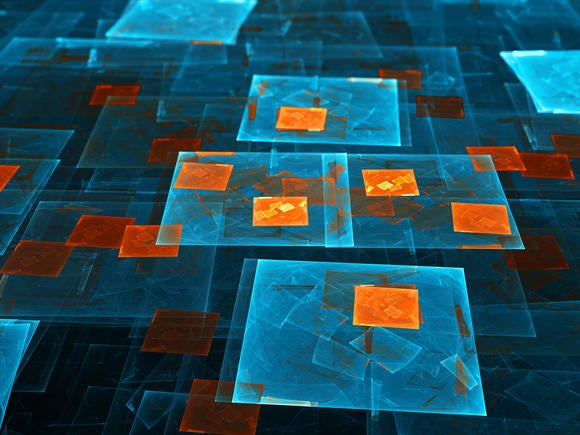 Virtual abstract layers in blue and orange