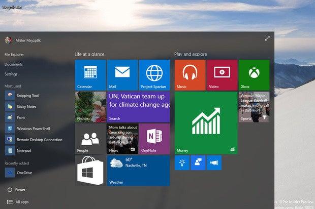 Start Menu: Windows 10 Build 10074