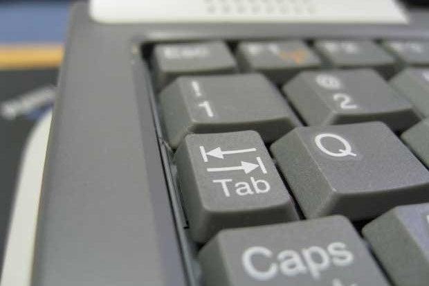 Closeup of a tab key on a keyboard