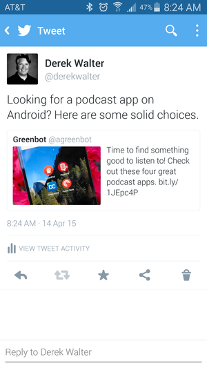 Twitter's embedded tweets feature lands on Android one week after