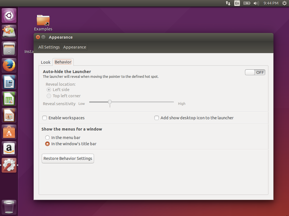 ubuntu 15.04 menu options