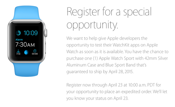 apple watch developer deal