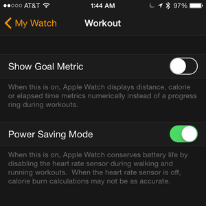 watch iphone workout settings