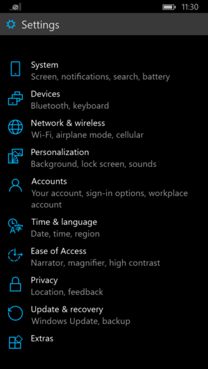windows 10 for phones settings