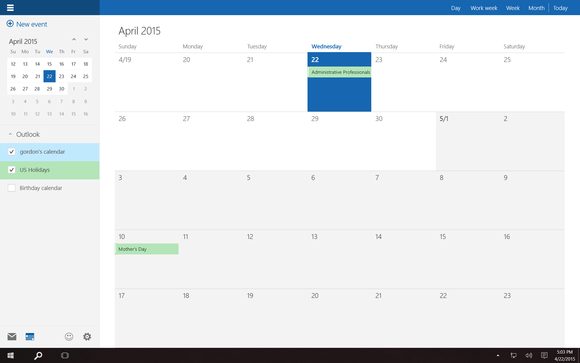 windows 10 preview calendar