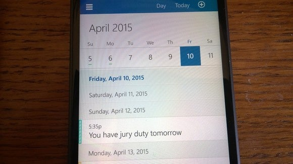 Windows 10 for Phones Outlook Calendar
