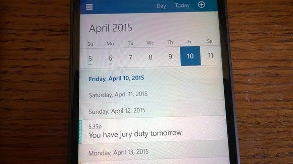 Windows 10 for Phones Outlook Calendar