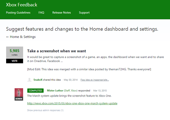 xbox feedback suggestion box screenshots