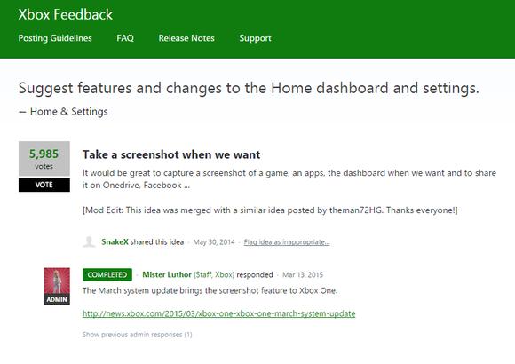 xbox feedback suggestion box screenshots