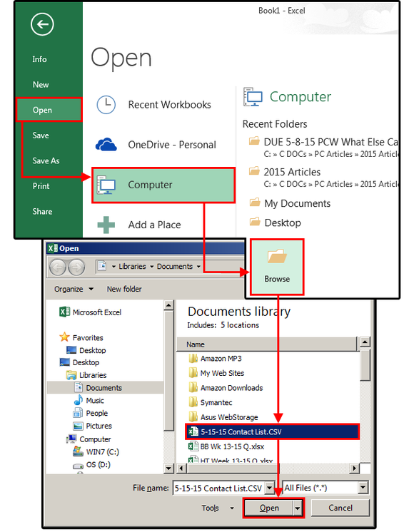 1 import open outlook contacts csv file in excel