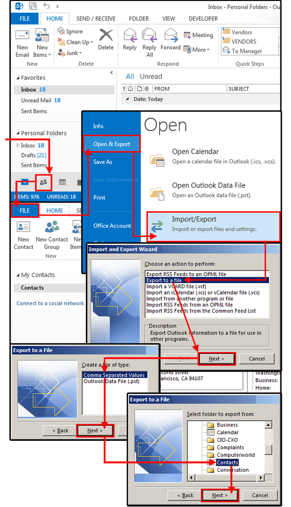 1 open export address book