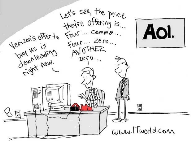Cartoon showing AOL downloading Verizon's offer using dial-up modem