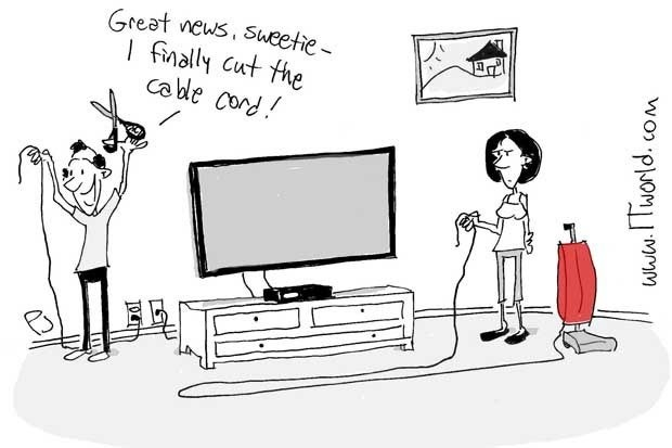 Cartoon of a man cutting the vacuum cleaner cord instead of the cable cord