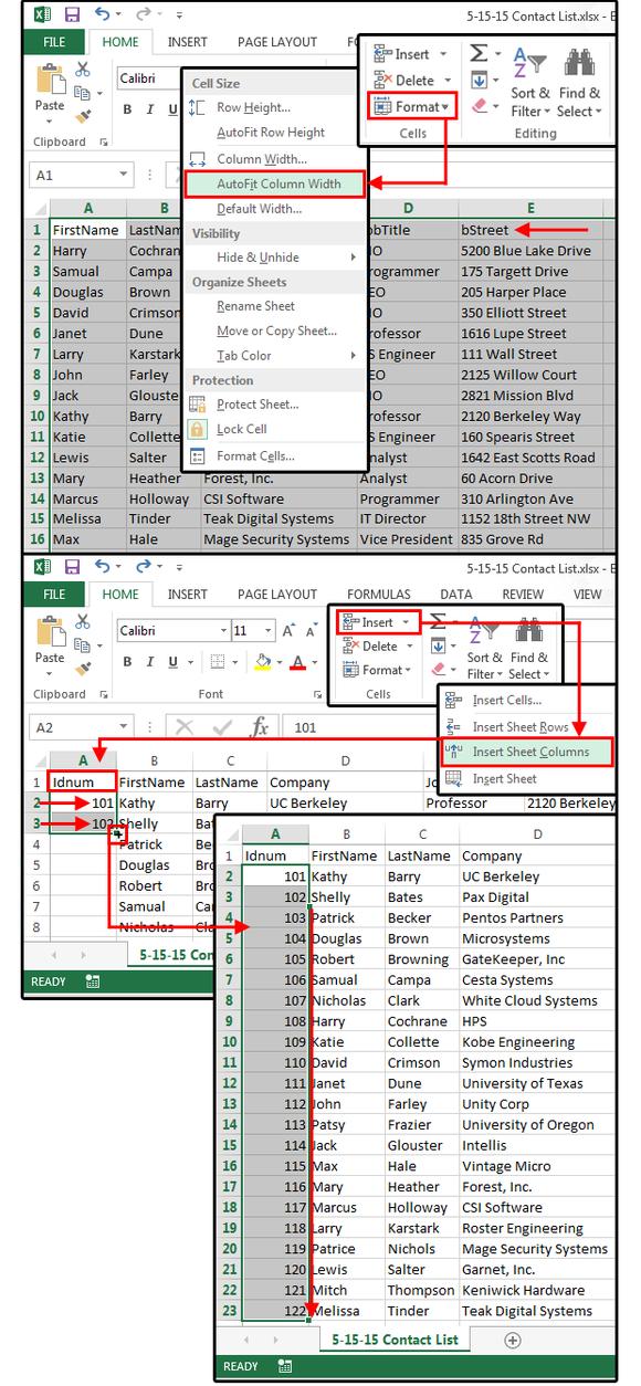 3 adjust column widths insert column add id numbers