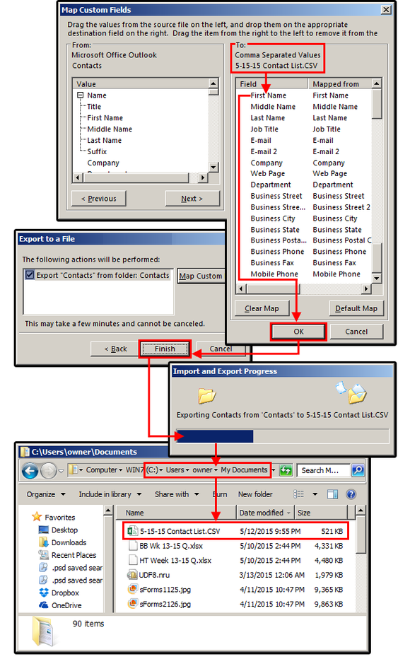 4 export custom contacts to csv file