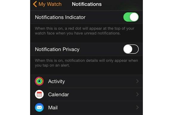 apple watch notifications settings