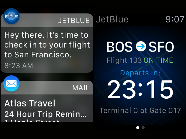 apple watch screen shot jetblue notifications