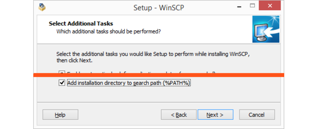Add WinSCP folder to path.