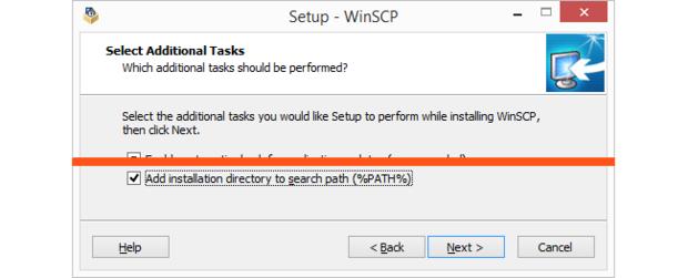 Add WinSCP folder to path.