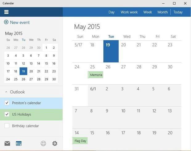 Widnows 10 calendar