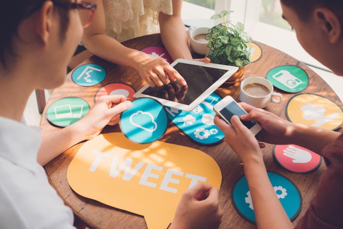 Collaboration tools: social media messages, sharing, connection, communication