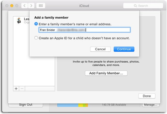 iCloud Family group
