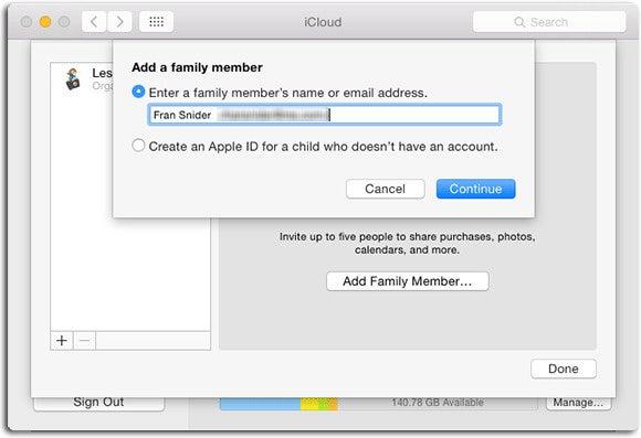 iCloud Family group