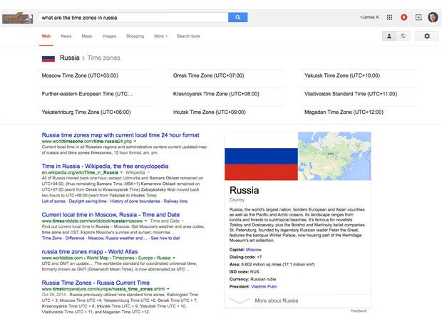 google direct answer time zones in russia
