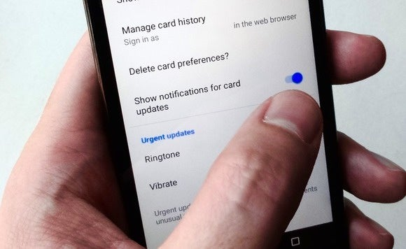 Google Now notifications setting for Android