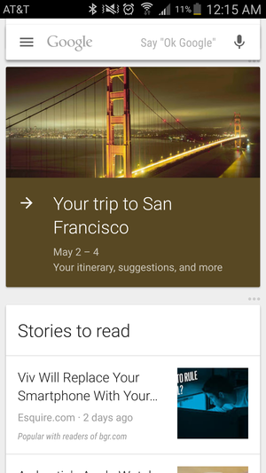 google now travel itinerary