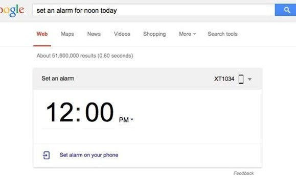 Set an Android alarm from Google desktop search